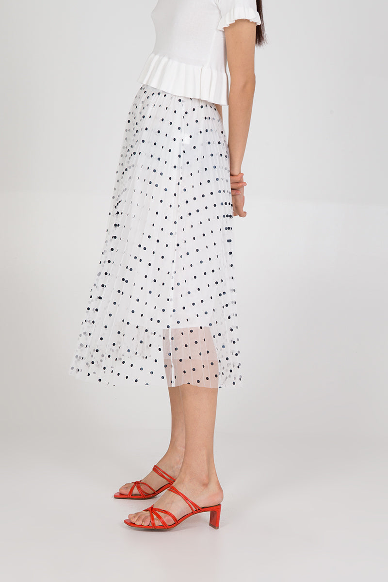 Spot Net Pleated Skirt