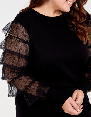 Curve Tiered Lace Sleeve Jumper