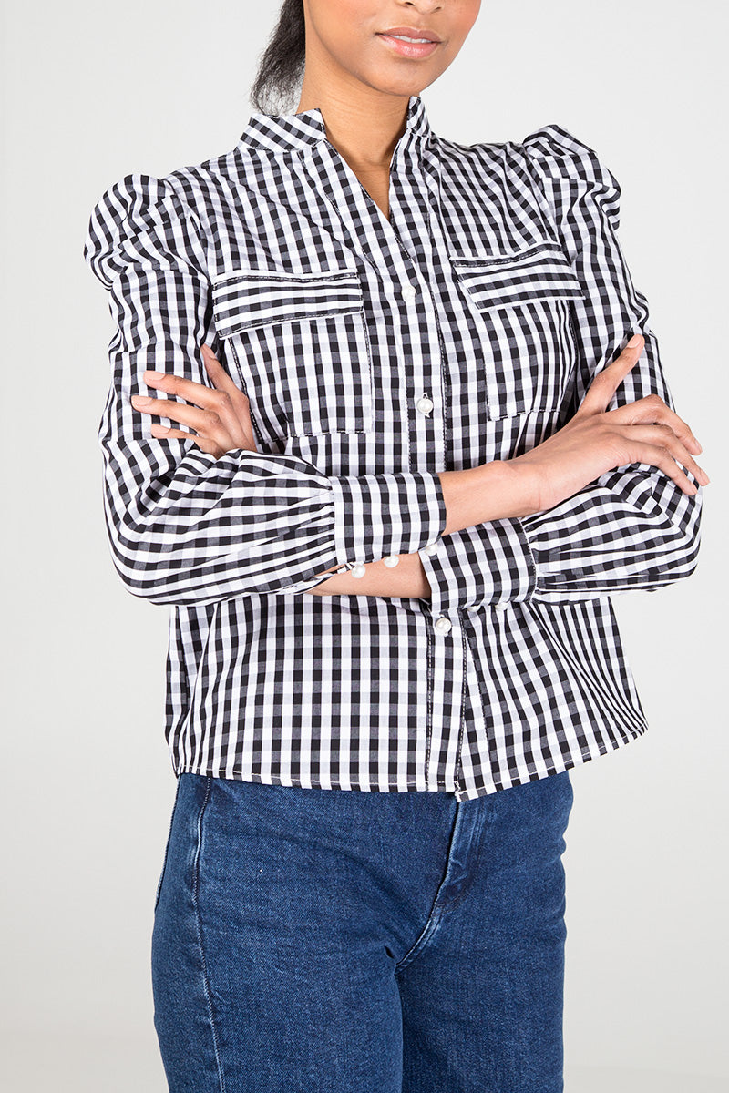 Gingham Puff Sleeve Shirt