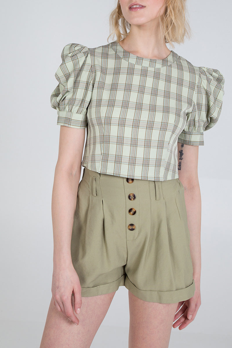 Checked Short Sleeve Puff Top