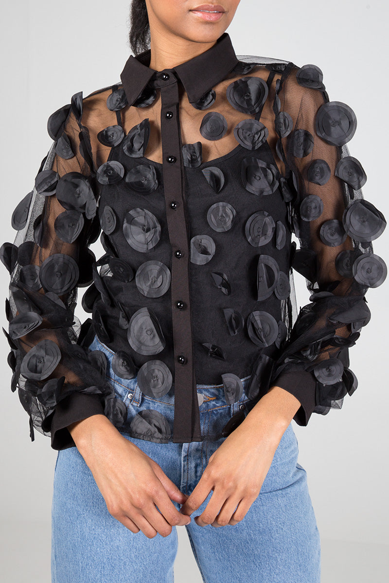 Organza Disc Collared Shirt