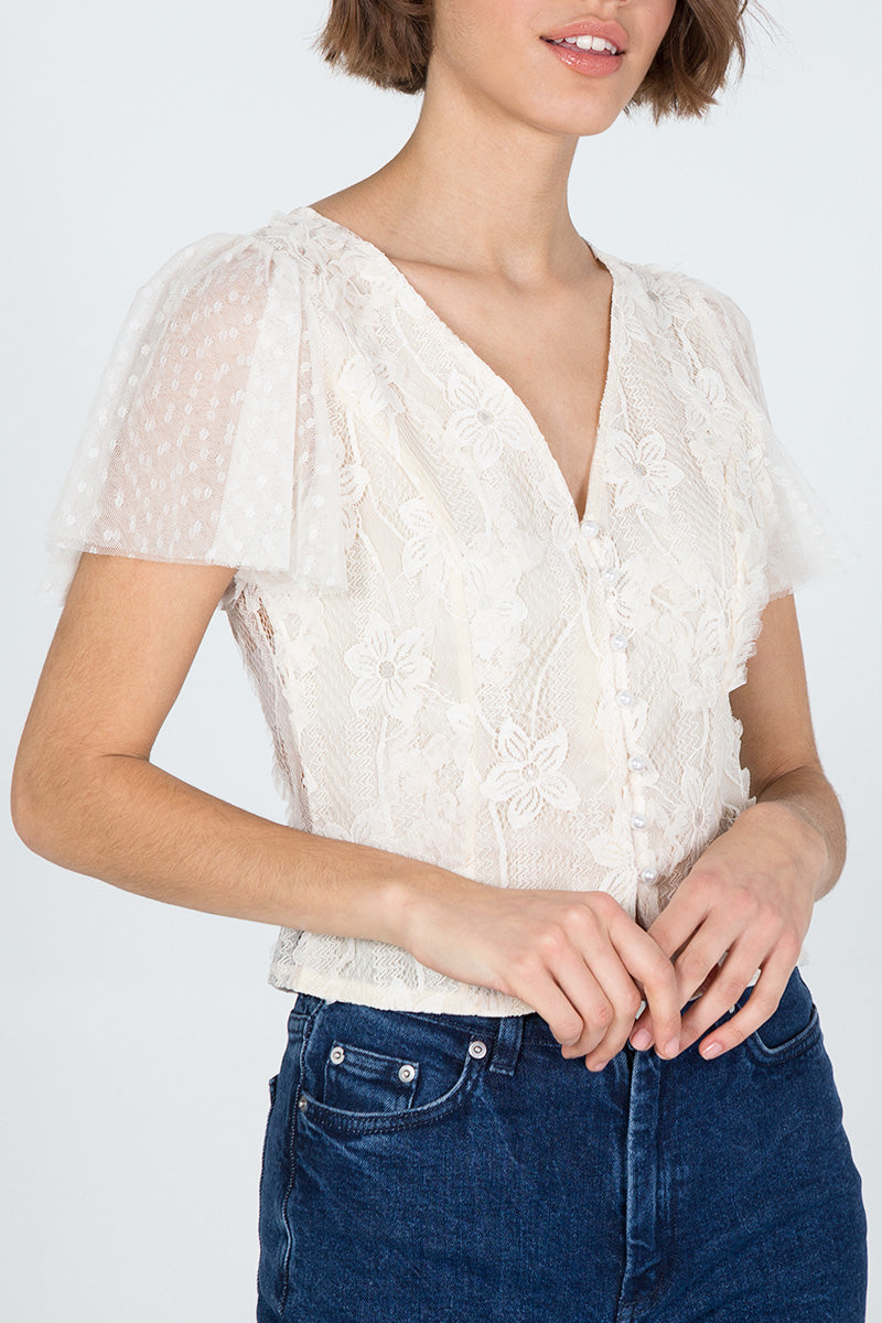Organza Lace Flower Pearl Button Top