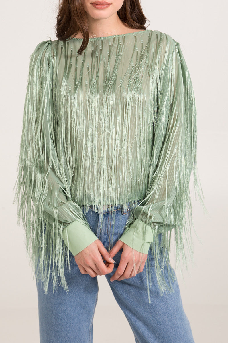Fringe Fabric Long Sleeve Top