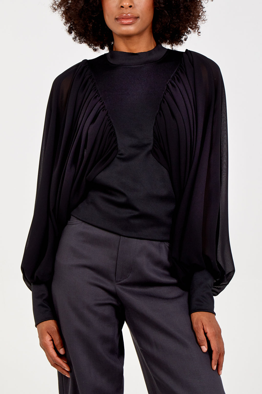 Pleated Sleeve Batwing Blouse