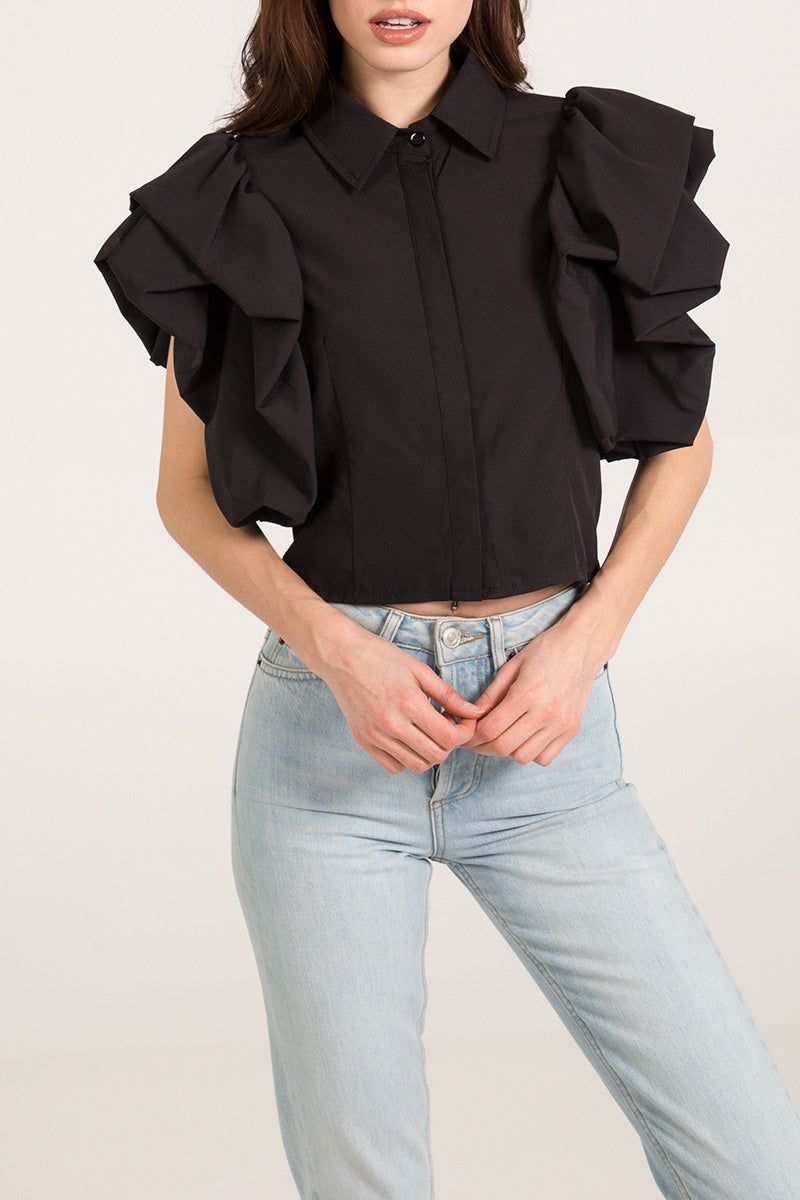 Puff Sleeve Stretch Poplin Shirt
