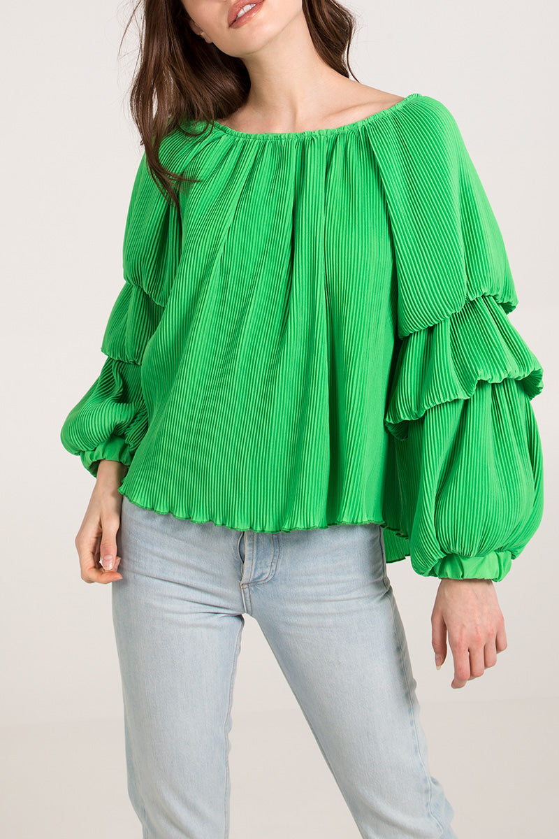 Round Neck Puff Sleeve Blouse