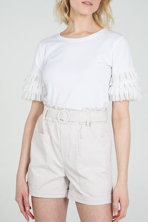 Pearl Lace Frill Sleeve Round Neck Top