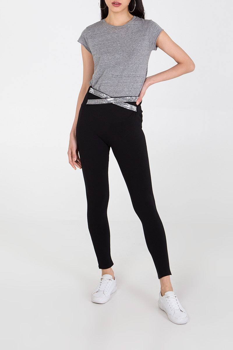 Diamante Cross Over Waistband Trousers