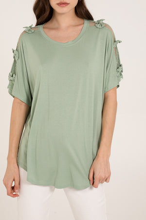 Lace & Bow Sleeve Batwing Top