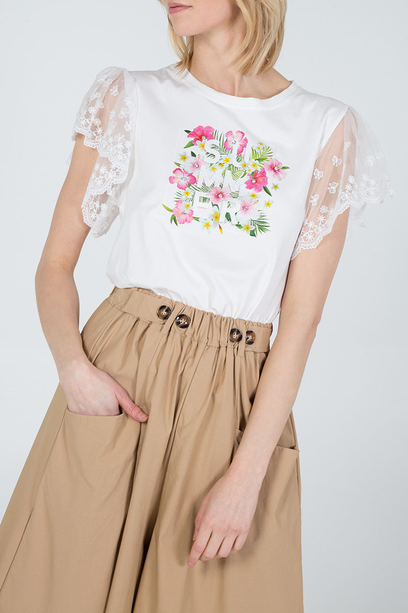 Lace Angel Sleeve Flower Print T-Shirt