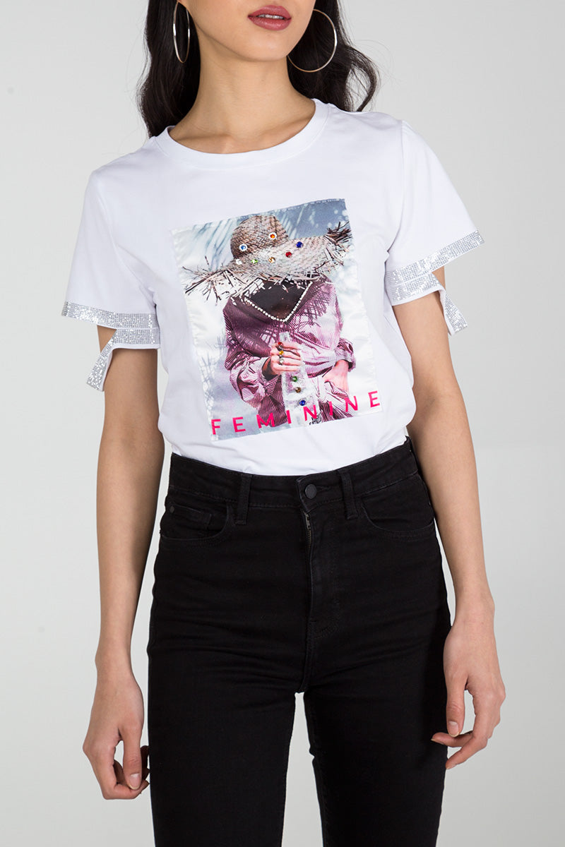 Sequin Sleeve Photo Print T-Shirt