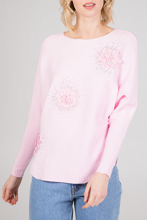 Flower Diamante Diagonal Top