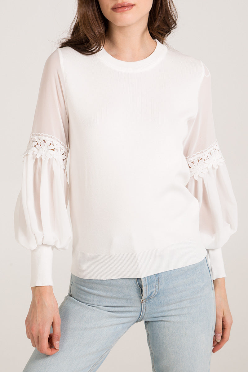 Chiffon Balloon Sleeve Crochet Trim Jumper