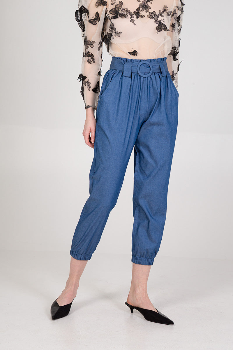 Elasticated Waist Belt Detail Trouser