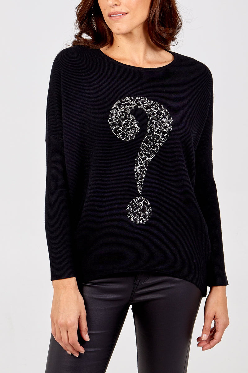 Leopard Sequins Question Mark Detail Jumper