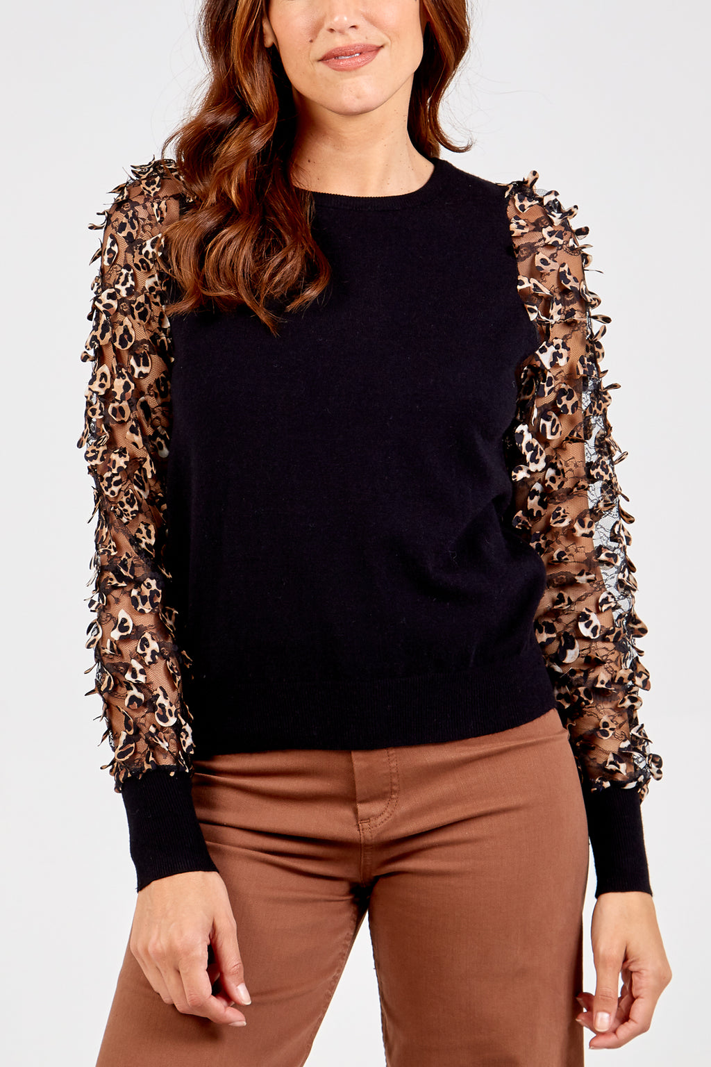 Leopard Mesh Sleeves Knitted Jumper