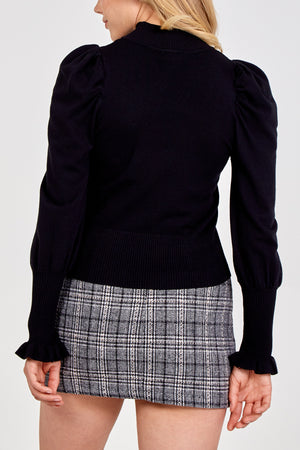 Turtle Neck Puff Sleeves Jumper