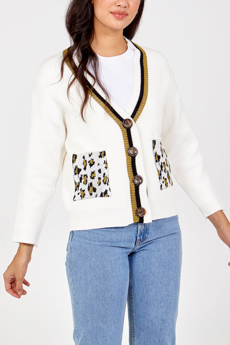 Leopard Pocket Stripe Trim Cardigan