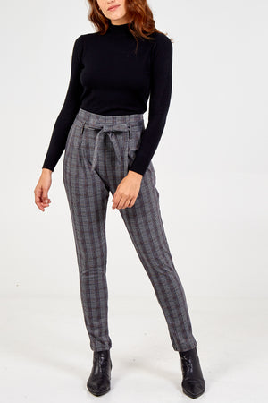 Checked High Waist Trouser