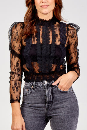 Sheer Long Sleeve Lace Top