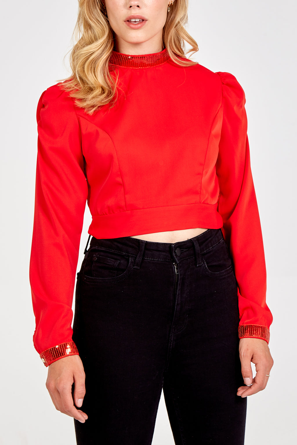 Sequin Trim Long Sleeve Crop Top