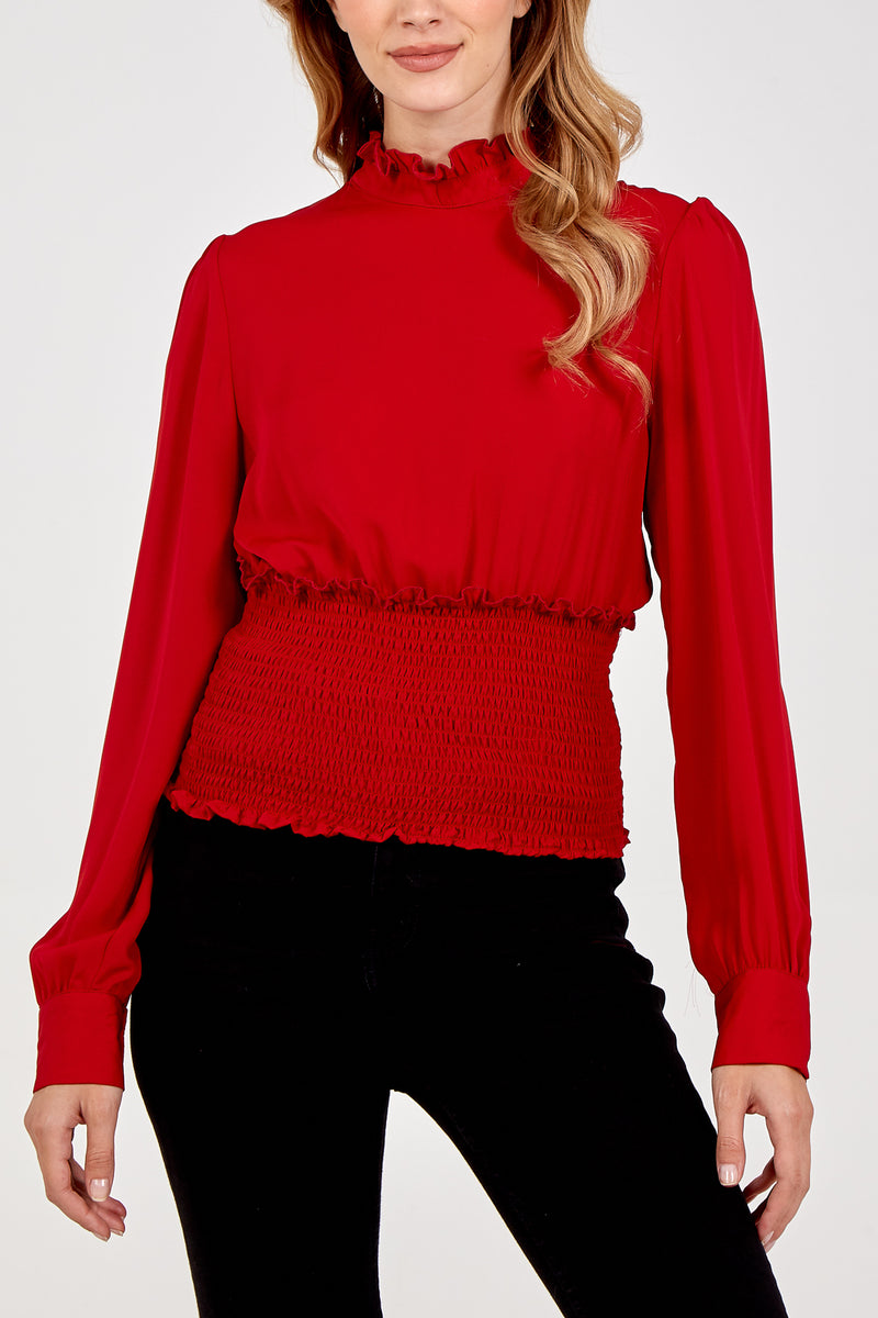 Frill Collar Shirred Top