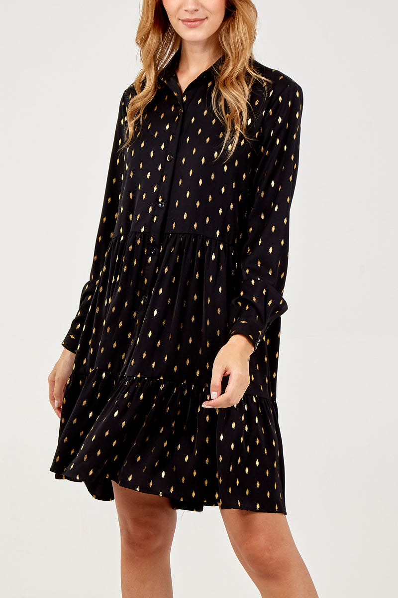 Metallic Print Poplin Dress