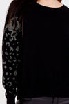 Embellished Sleeve Round Neck Jumper