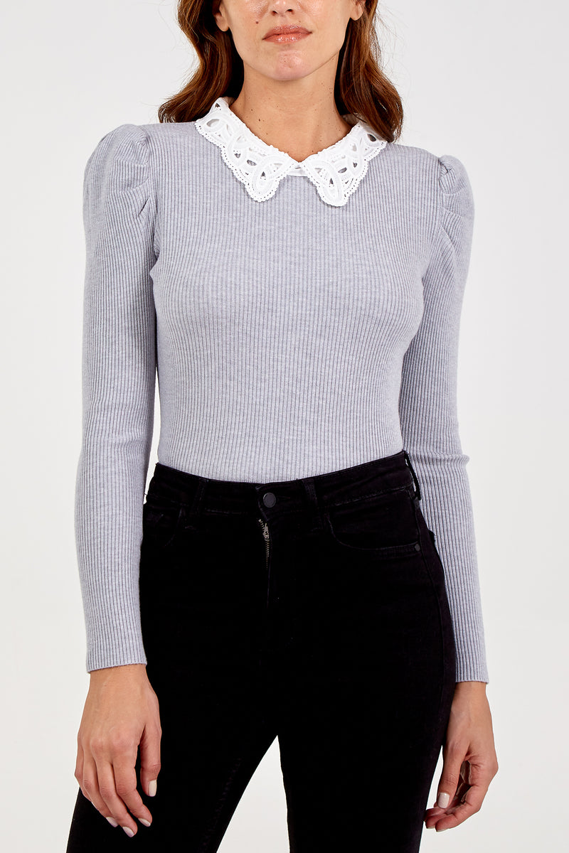 Lace Collar Puff Sleeve Jumper