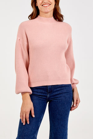 Balloon Sleeve Ribbed Jumper