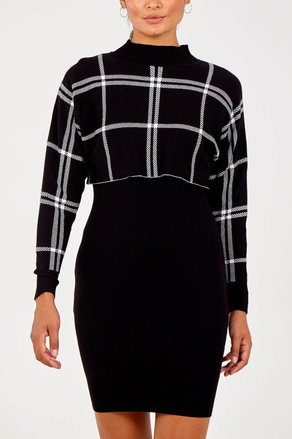 Checked Sweater & Dress Set