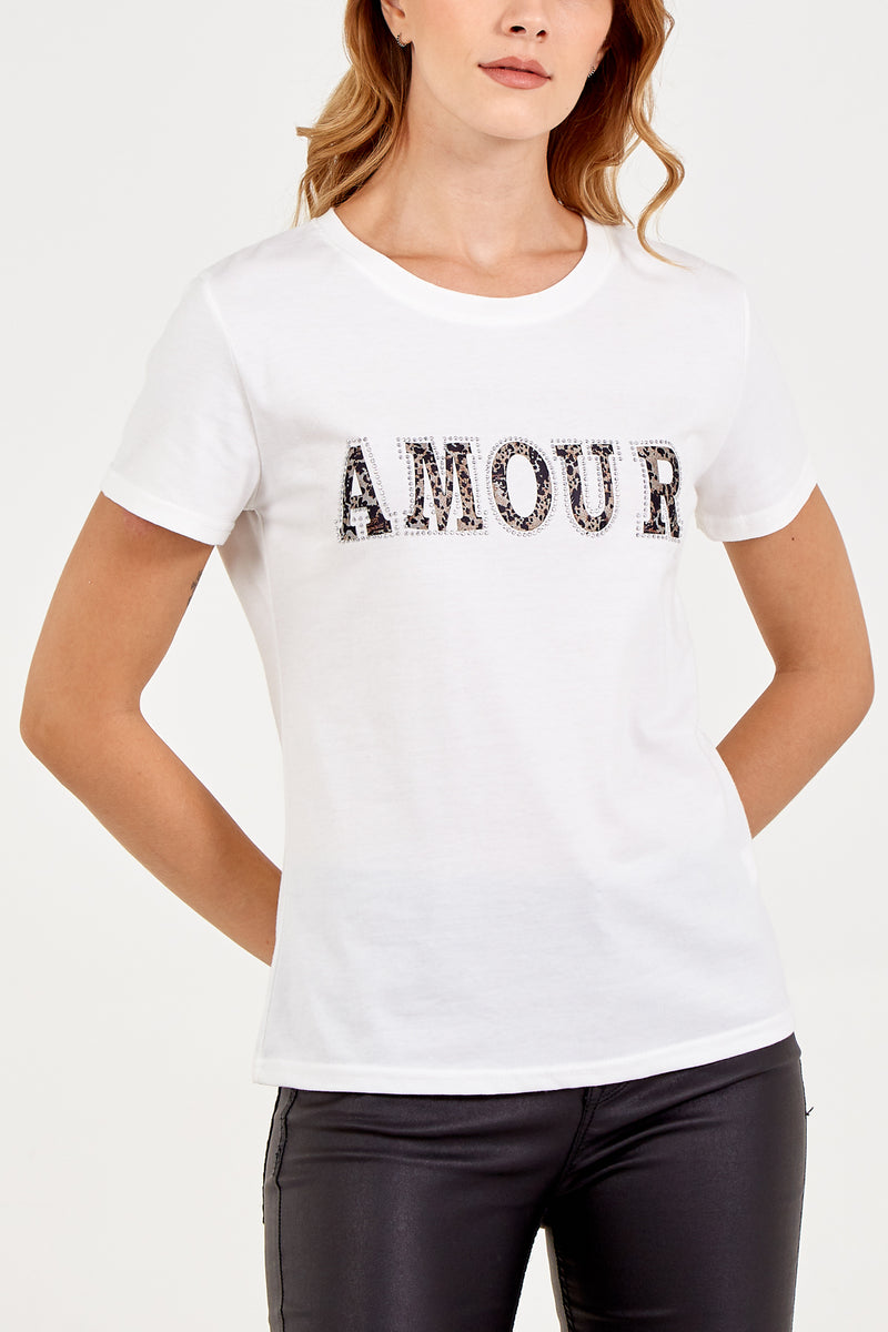 Amour Embellished T-Shirt