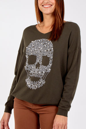 Skull Embellished V Neck Jumper