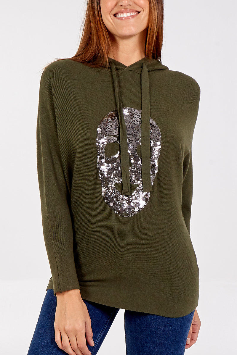 Embellished Skull Knitted Hoody