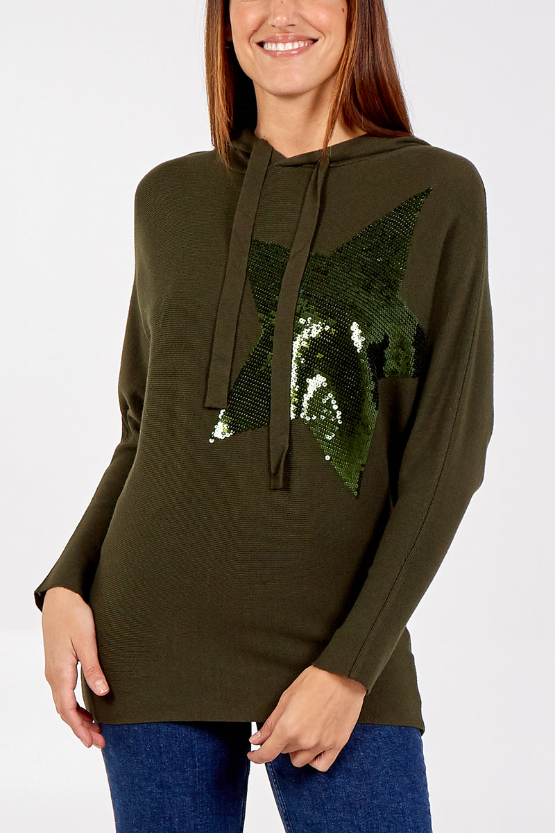 Sequinned Star Knitted Hoody