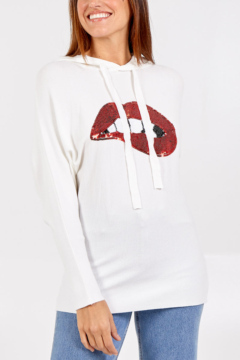 Embellished Lips Knitted Hoodie