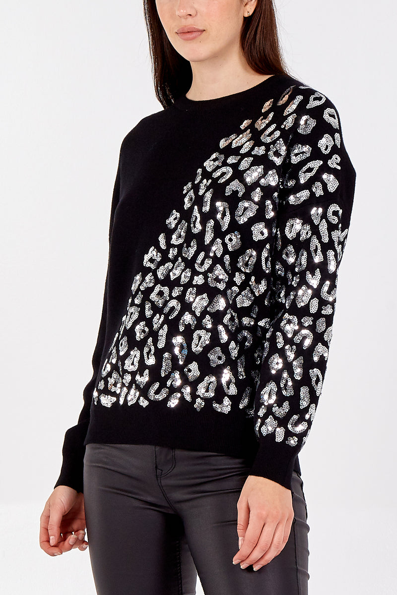 Sequinned Animal Print Jumper