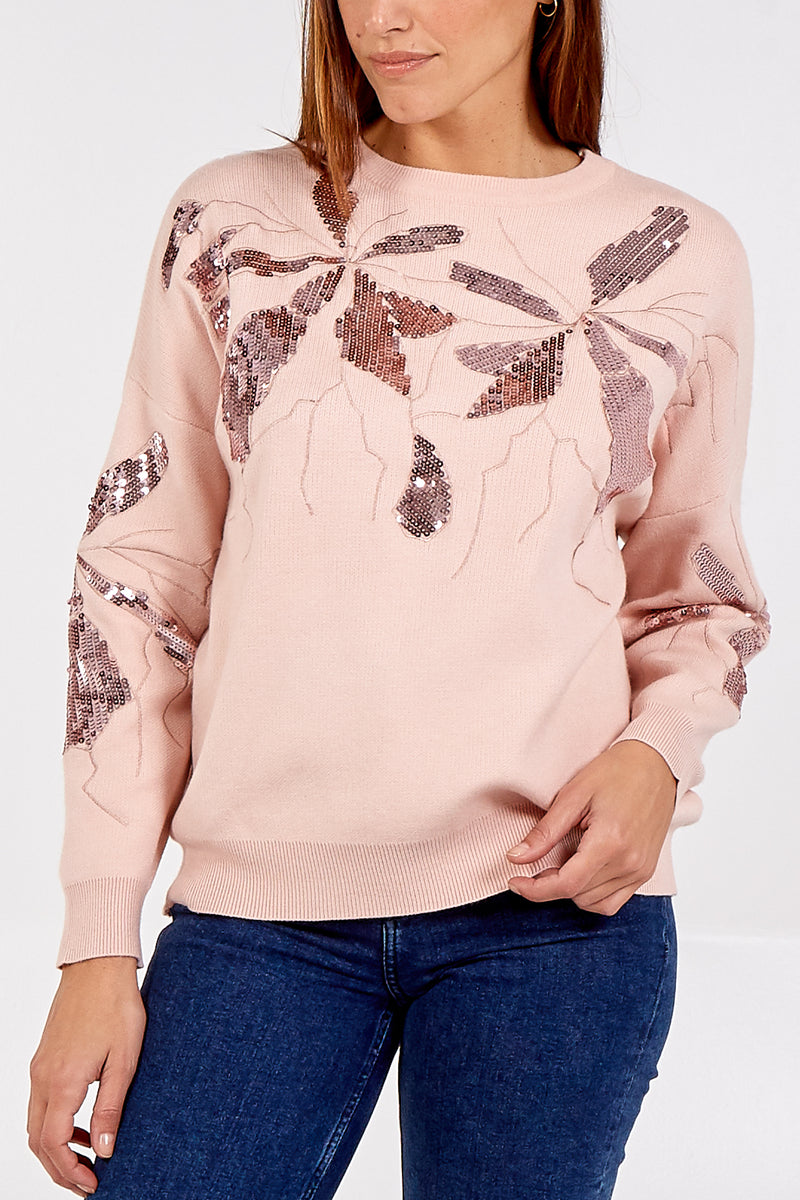Sequinned Abstract Jumper
