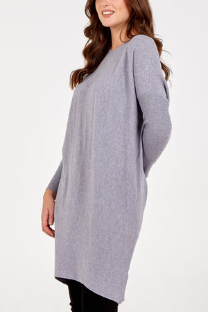 Longline Round Neck Jumper With Crochet Angel Wings