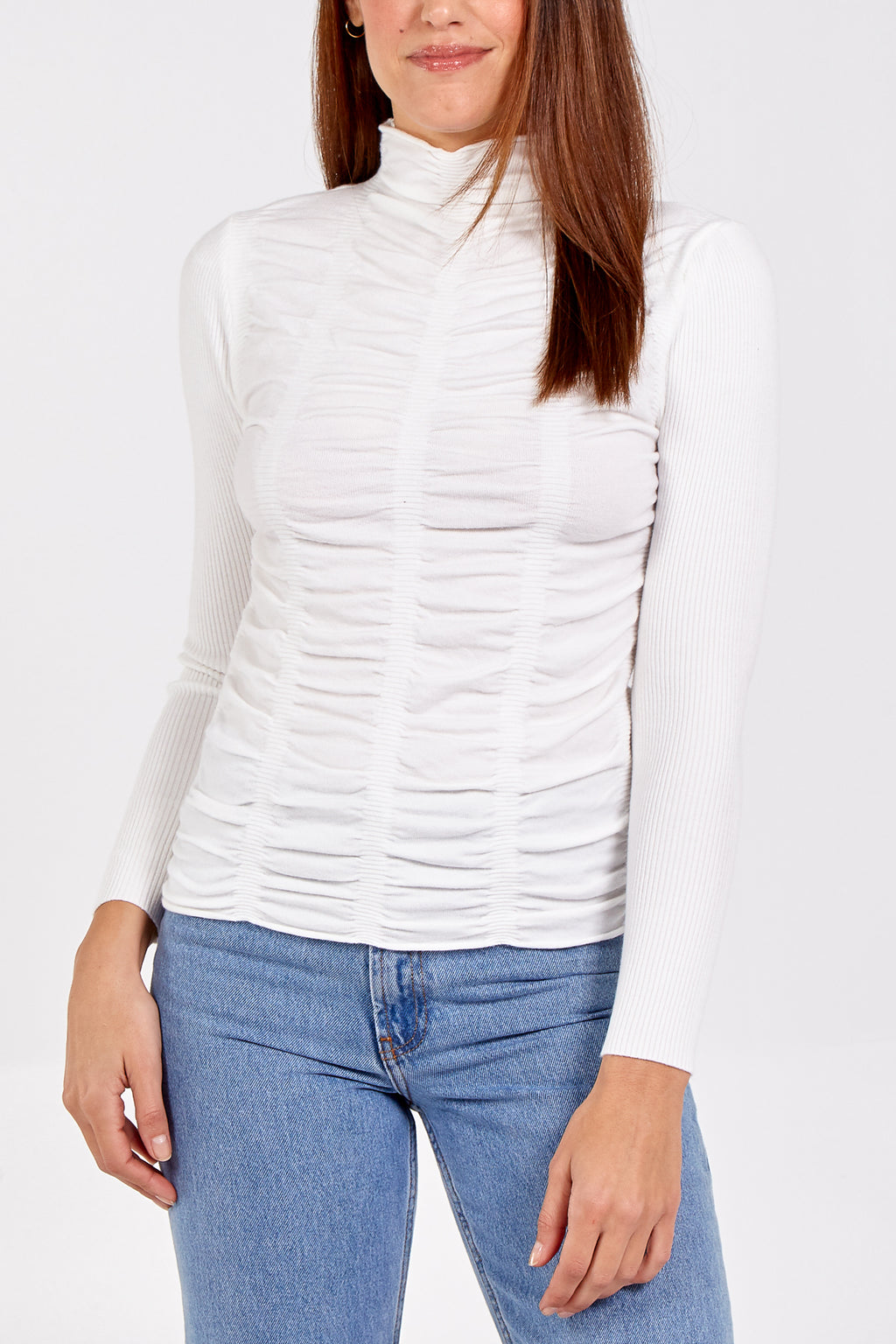 Runched Front Jumper With Ribbed Sleeves