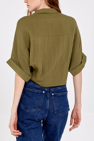 Military Crop Blouse With Pockets