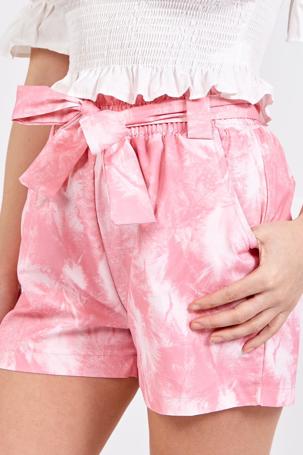 Tie Dye Paper Bag Shorts