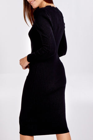 Ribbed Gold Button Detail Jumper Dress