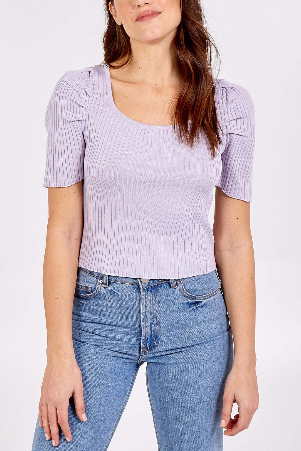 Square Neck Short Puff Sleeve Ribbed Top