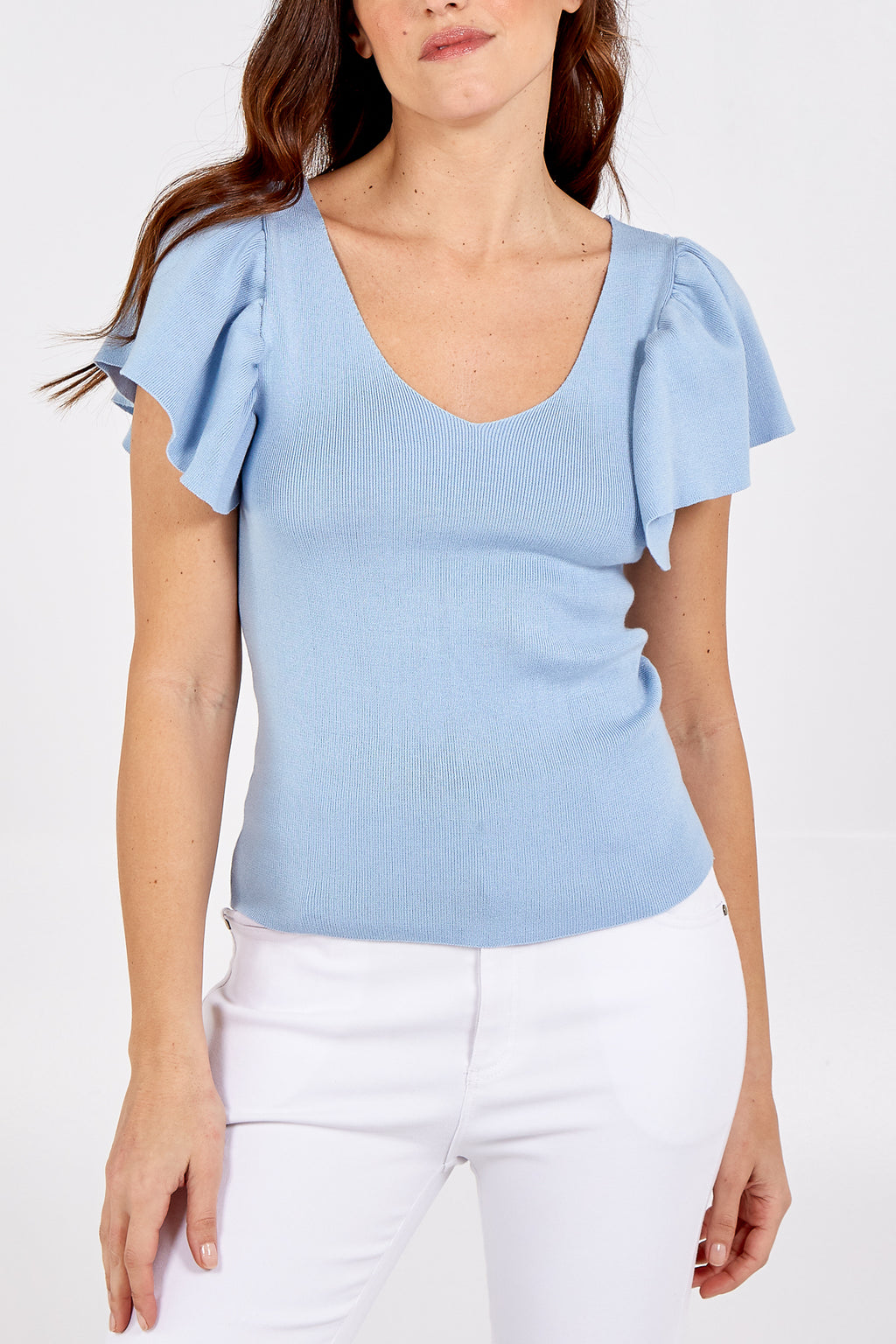V-Neck Ribbed Top With Flared Sleeves