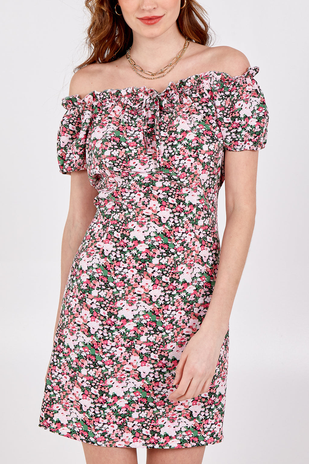 Floral Print Frill Trim Dress