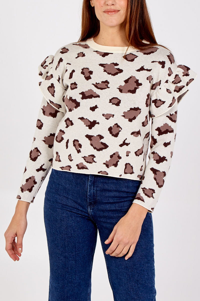 Ruffled Shoulder Animal Jumper