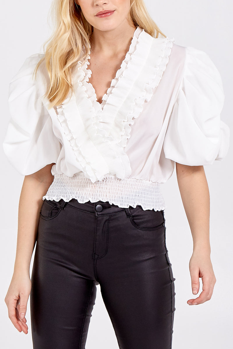 Puff Sleeve Frill Detailed Cross Over Top