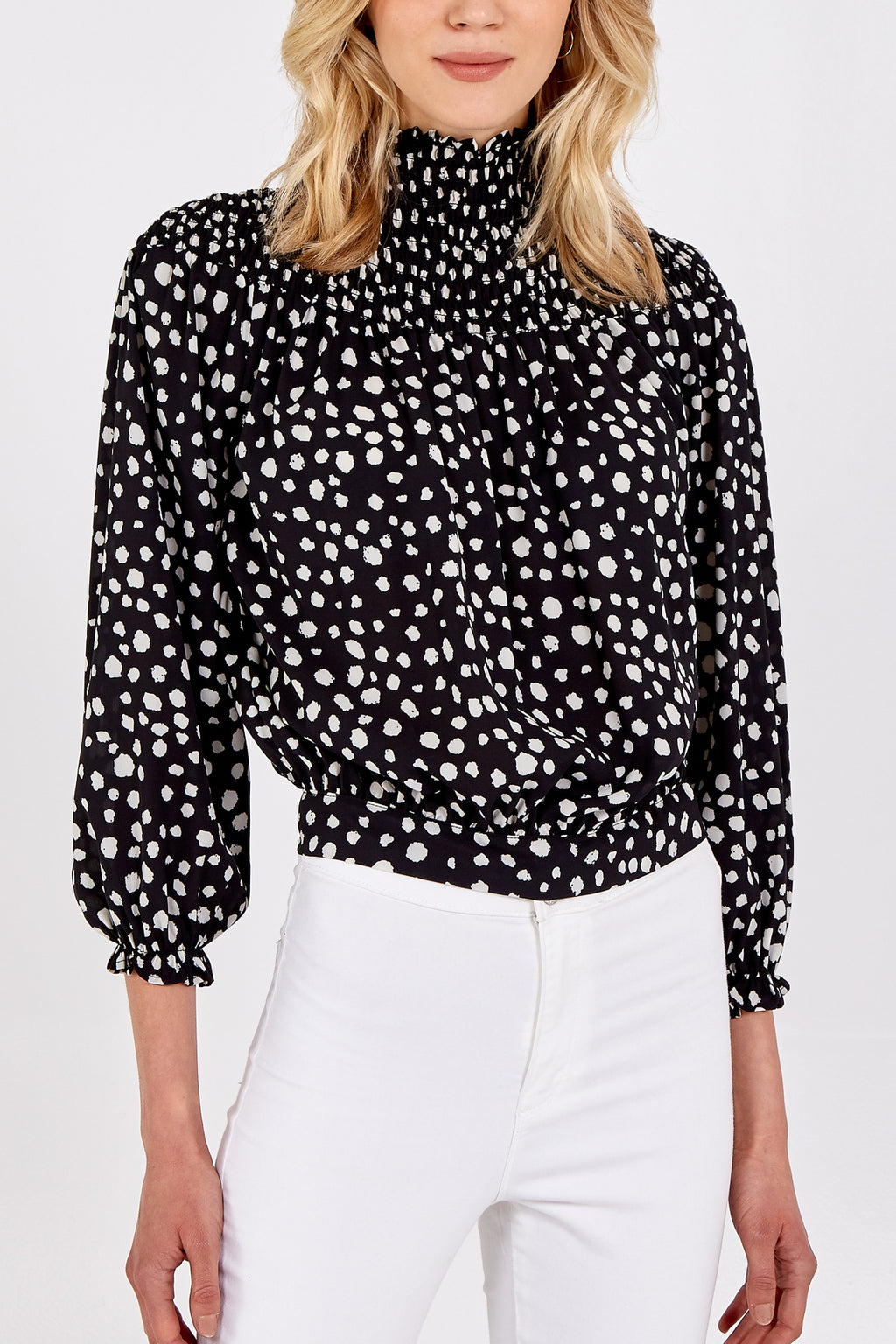 High Neck Long Sleeve Leopard Top With Back Tie