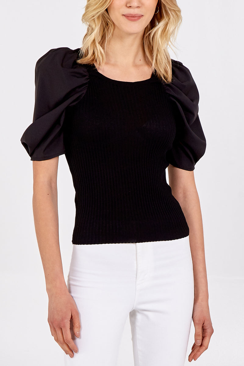 Ribbed Contrasting Puff Sleeve Top